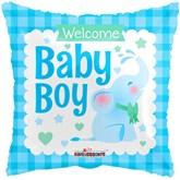"Baby Boy Blue Elephant 18"" Square Foil"