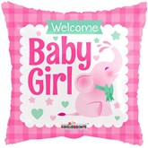 "Baby Girl Pink Elephant 18"" Square Foil Balloon"