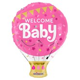 """Welcome Baby Pink 18"""" Hot Air Foil Balloon"""