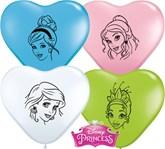 "6"" Heart Shaped Disney Princess Latex Balloons 100pk"