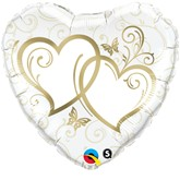 """Gold Entwined Hearts Foil Balloon 18"""""""