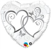Silver Entwined Hearts Foil Balloon 18""