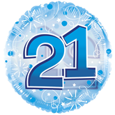 """21st Birthday Blue 24"""" Clearview Balloon"""