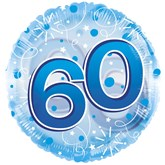 """60th Birthday Blue 24"""" Clearview Balloon"""