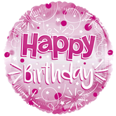 "Happy Birthday Pink 24"" Clearview Balloon"