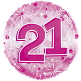 """21st Birthday Pink 24"""" Clearview Balloon"""