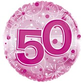 """50th Birthday Pink 24"""" Clearview Balloon"""
