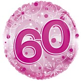 """60th Birthday Pink 24"""" Clearview Balloon"""