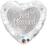 """18"""" Heart Shaped Just Married Foil Balloon"""