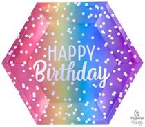Rainbow Ombre Hexagon 23cm Paper Plates 8pk