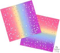 Rainbow Ombre 3-ply Foil Accent Napkins 16pk