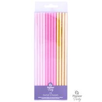 Pink & Gold Paper Straws 24pk