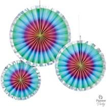 Rainbow Ombre Paper Fans 3pk