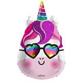 "Purple Unicorn With Sunglasses 18"" Foil Balloon"