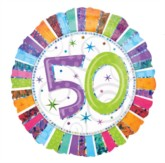 """18"""" 50th Birthday Colourful Round Holographic Foil Balloon"""