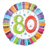 """18"""" 80th Birthday Round Holographic Foil Balloon"""