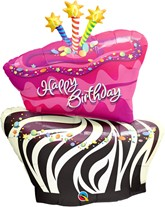 "Pink Happy Birthday Cake 41"" Supershape Foil Balloon"
