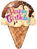 "Happy Birthday Ice Cream 27"" Supershape Balloon"