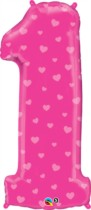 Number 1 Giant Foil Balloon - Pink Hearts 34""