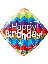 "Happy Birthday Zig Zag 18"" Foil Balloon"