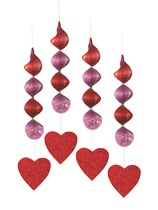 Valentine's Holographic Heart Hanging Decorations 4pk