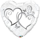 """Silver Entwined Hearts Foil Balloon 36"""""""