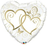 """Gold Entwined Hearts Foil Balloon 36"""""""