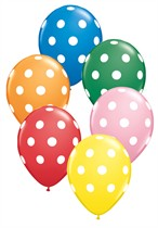 "Standard Assorted Big Polka Dots 11"" Latex Balloons 50pk"