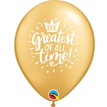 """Greatest Of All Time 11"""" Gold Latex Balloons 25pk"""
