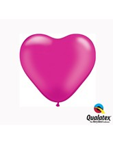 "6"" Pearl Magenta Latex Heart Balloons 100pk"