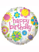"Happy Birthday Flowers 18"" Foil Balloon"