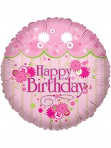 "Pink Flowers Happy Birthday 18"" Foil Balloon"