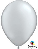 "11"" Metallic Silver Latex Balloons 6pk"