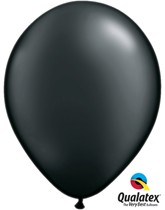 "11"" Pearl Onyx Black Latex Balloons 6pk"