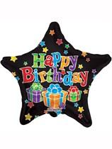 "Black Stars and Presents Happy Birthday 18"" Foil Balloon"