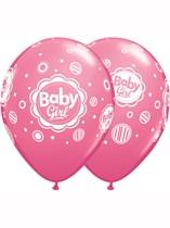 "Baby Girl 11"" Latex Balloons 6pk"
