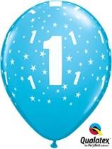 "Age 1 Light Blue Star Print 11"" Latex Balloons 6pk"