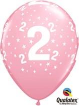"Age 2 Light Pink Star Print 11"" Latex Balloons 6pk"