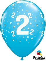 "Age 2 Light Blue Star Print 11"" Latex Balloons 6pk"