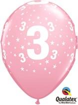 "Age 3 Light Pink Star Print 11"" Latex Balloons 6pk"