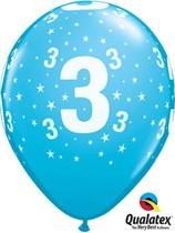 "Age 3 Light Blue Star Print 11"" Latex Balloons 6pk"
