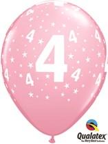 "Age 4 Light Pink Star Print 11"" Latex Balloons 6pk"