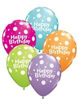 "Tropical Asst. 11"" Dotty Happy Birthday Balloons 6pk"