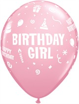 "Pink Birthday Girl 11"" Latex Balloons 6pk"
