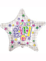 "Silver Stars and Presents Birthday Girl 18"" Foil Balloon"