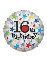 "16th Birthday Silver Stars 18"" Foil Balloon"