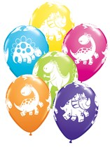 Assorted Cute & Cuddly Dinosaurs Latex Balloons 6pk