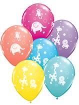 Cuddly Jungle Animals Latex Balloons 6pk Asst. Colours