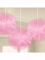 Pink Fluffy Tulle Hanging Decorations 3pk