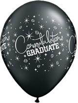 "Graduate 11"" Onyx Black Latex Balloons 6pk"